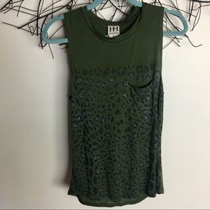 Haute hippie green leopard print tank extra small